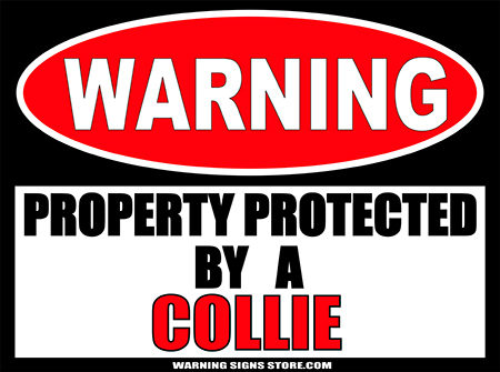COLLIE PROPERTY PROTECTED BY WARNING SIGN