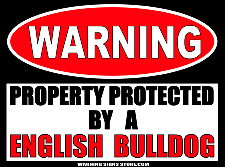 ENGLISH BULLDOG  PROPERTY PROTECTED BY WARNING SIGN