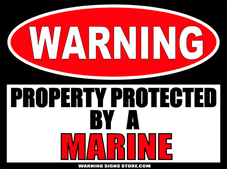 MARINE  PROPERTY PROTECTED BY WARNING SIGN