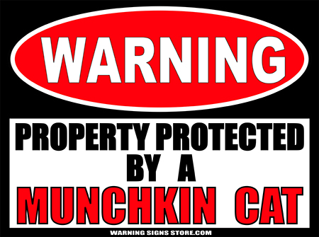 MUNCHKIN CAT   PROPERTY PROTECTED BY WARNING SIGN